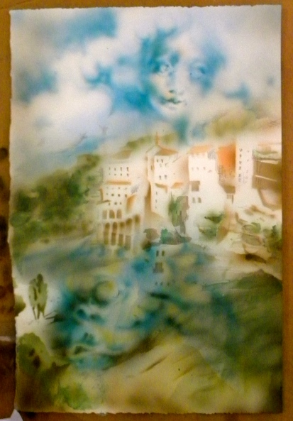 A cloud lady looks down upon a small village and giant fish monster lurking in the water